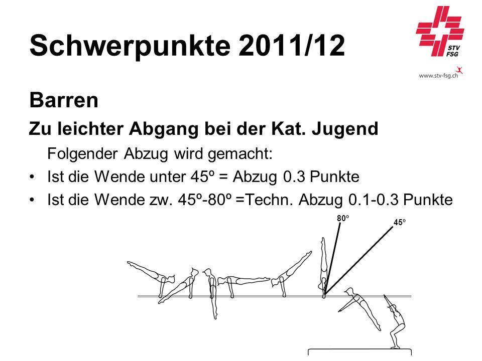 Schwerpunkte 2011/12 Barren Zu leichter Abgang bei der Kat. Jugend Folgender Abzug wird gemacht: Ist die Wende unter 45º = Abzug 0.3 Punkte Ist die We