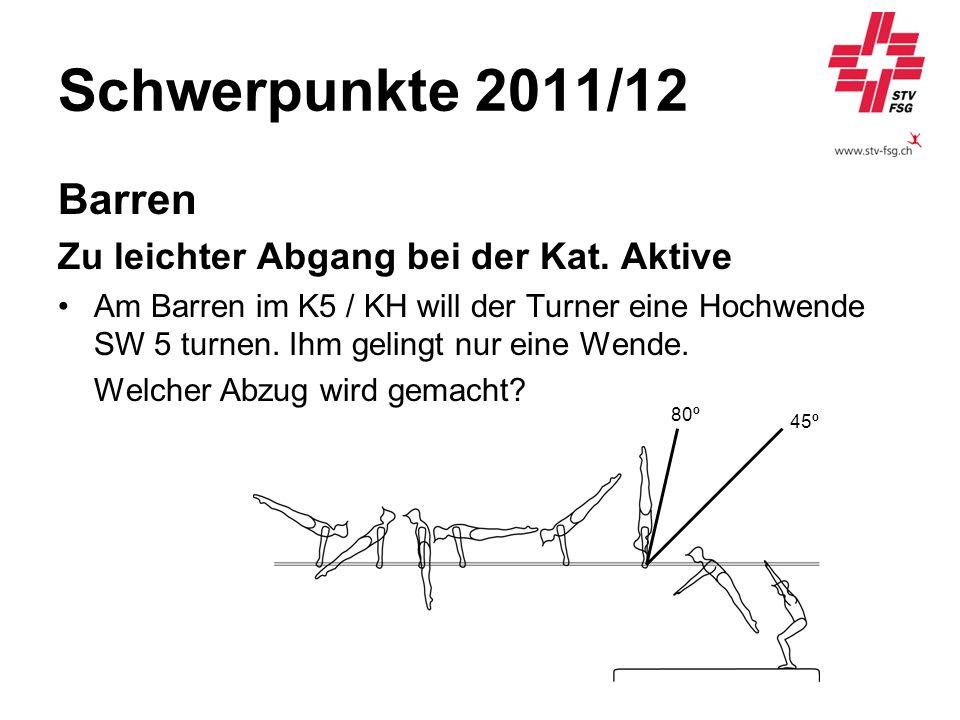 Schwerpunkte 2011/12 Barren Zu leichter Abgang bei der Kat. Aktive Am Barren im K5 / KH will der Turner eine Hochwende SW 5 turnen. Ihm gelingt nur ei
