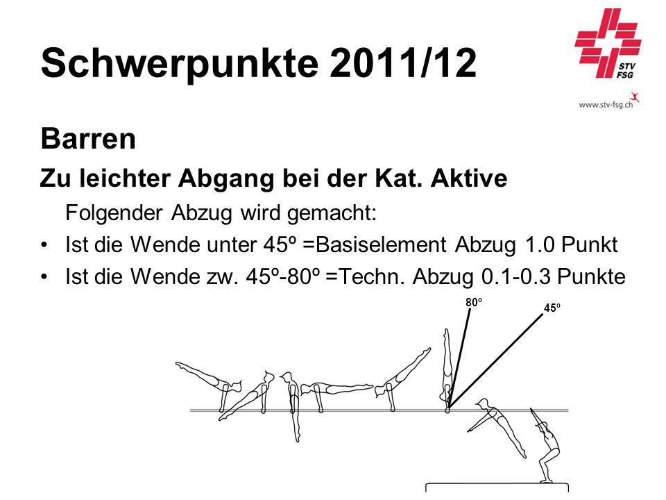 Schwerpunkte 2011/12 Barren Zu leichter Abgang bei der Kat. Aktive Folgender Abzug wird gemacht: Ist die Wende unter 45º =Basiselement Abzug 1.0 Punkt