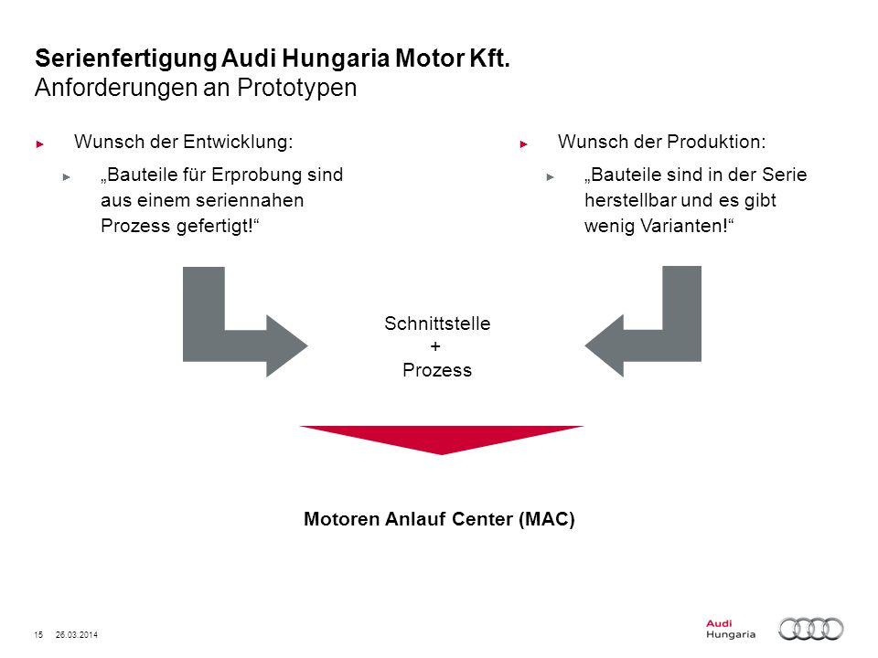 15 26.03.2014 Serienfertigung Audi Hungaria Motor Kft. Anforderungen an Prototypen Wunsch der Entwicklung: Bauteile für Erprobung sind aus einem serie
