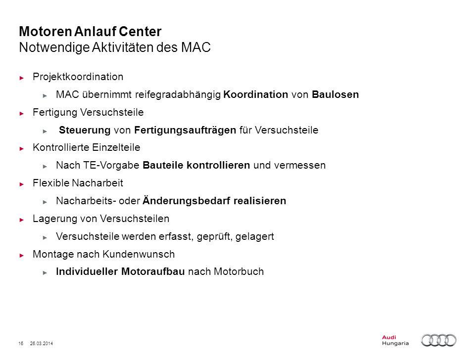 16 26.03.2014 Motoren Anlauf Center Notwendige Aktivitäten des MAC Projektkoordination MAC übernimmt reifegradabhängig Koordination von Baulosen Ferti