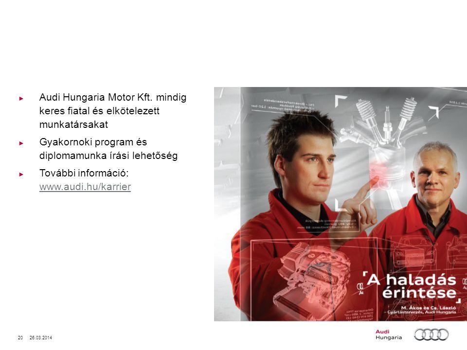 20 26.03.2014 Audi Hungaria Motor Kft. mindig keres fiatal és elkötelezett munkatársakat Gyakornoki program és diplomamunka írási lehetőség További in