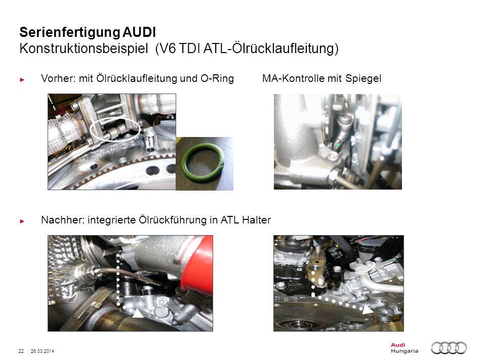 22 26.03.2014 Serienfertigung AUDI Konstruktionsbeispiel (V6 TDI ATL-Ölrücklaufleitung) Vorher: mit Ölrücklaufleitung und O-Ring MA-Kontrolle mit Spie