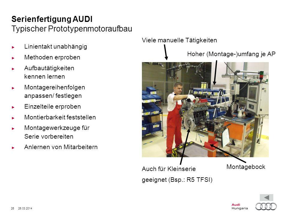 26 26.03.2014 Serienfertigung AUDI Typischer Prototypenmotoraufbau Linientakt unabhängig Methoden erproben Aufbautätigkeiten kennen lernen Montagereih