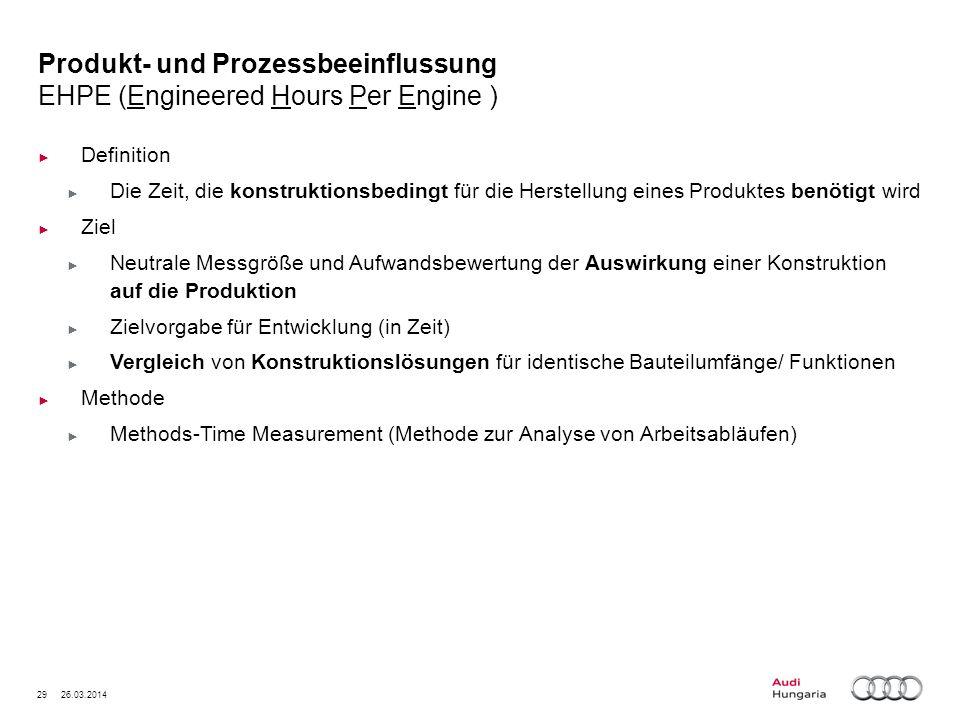 29 26.03.2014 Produkt- und Prozessbeeinflussung EHPE (Engineered Hours Per Engine ) Definition Die Zeit, die konstruktionsbedingt für die Herstellung