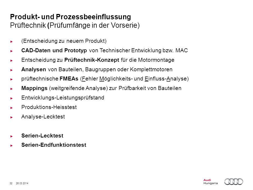32 26.03.2014 Produkt- und Prozessbeeinflussung Prüftechnik (Prüfumfänge in der Vorserie) (Entscheidung zu neuem Produkt) CAD-Daten und Prototyp von T