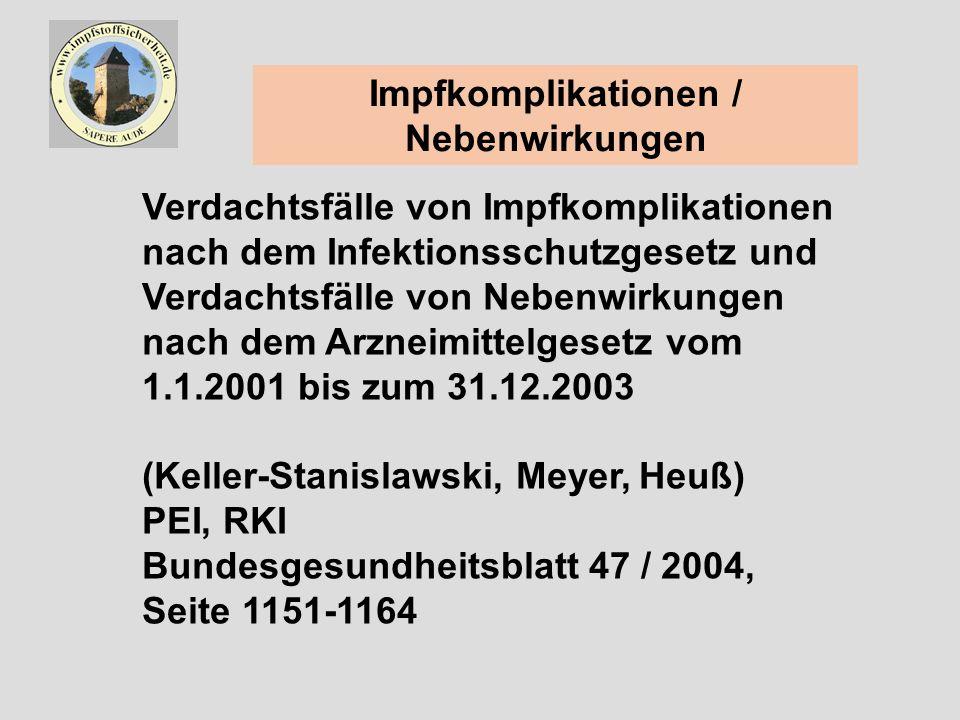 Impfkomplikationen / Nebenwirkungen Verdachtsfälle von Impfkomplikationen nach dem Infektionsschutzgesetz und Verdachtsfälle von Nebenwirkungen nach dem Arzneimittelgesetz vom 1.1.2001 bis zum 31.12.2003 (Keller-Stanislawski, Meyer, Heuß) PEI, RKI Bundesgesundheitsblatt 47 / 2004, Seite 1151-1164