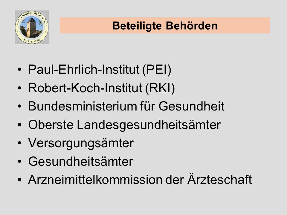 Paul-Ehrlich-Institut (PEI) Robert-Koch-Institut (RKI) Bundesministerium für Gesundheit Oberste Landesgesundheitsämter Versorgungsämter Gesundheitsämter Arzneimittelkommission der Ärzteschaft Beteiligte Behörden