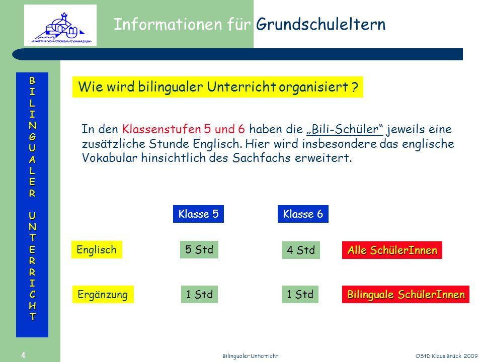Informationen für Grundschuleltern BILINGUALERUNTERRICHT OStD Klaus Brück 2009Bilingualer Unterricht 4 Wie wird bilingualer Unterricht organisiert ? I