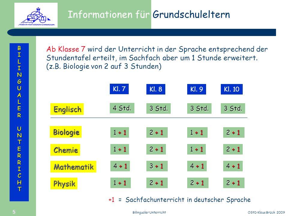 Informationen für Grundschuleltern BILINGUALERUNTERRICHT OStD Klaus Brück 2009Bilingualer Unterricht 5 Ab Klasse 7 wird der Unterricht in der Sprache