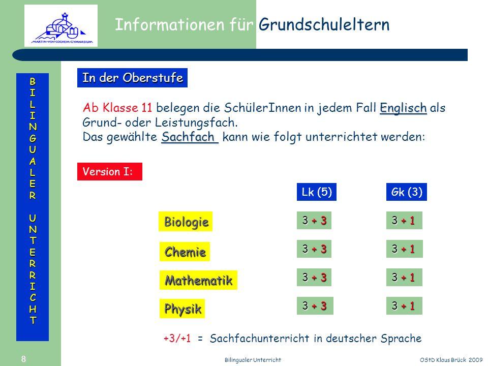 Informationen für Grundschuleltern BILINGUALERUNTERRICHT OStD Klaus Brück 2009Bilingualer Unterricht 8 Englisch Ab Klasse 11 belegen die SchülerInnen