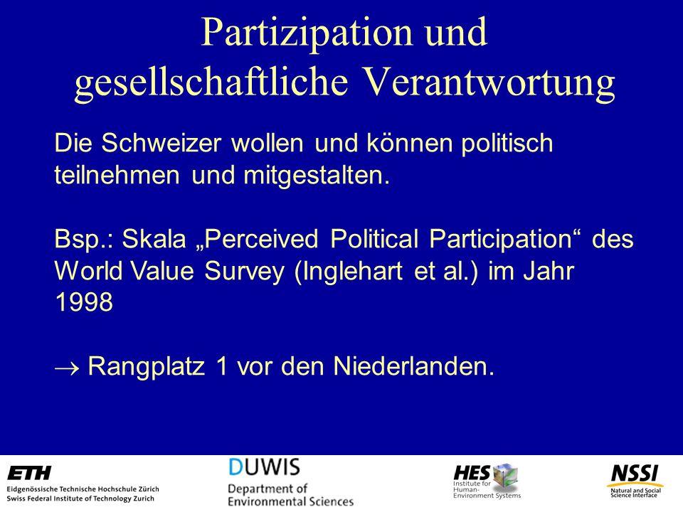 Partizipation und gesellschaftliche Verantwortung Die Schweizer wollen und können politisch teilnehmen und mitgestalten. Bsp.: Skala Perceived Politic