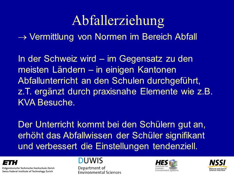 Abfallerziehung Vermittlung von Normen im Bereich Abfall In der Schweiz wird – im Gegensatz zu den meisten Ländern – in einigen Kantonen Abfallunterri