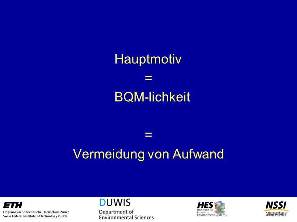Hauptmotiv = BQM-lichkeit = Vermeidung von Aufwand