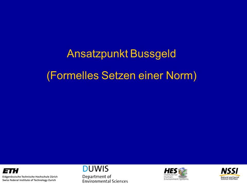 Ansatzpunkt Bussgeld (Formelles Setzen einer Norm)