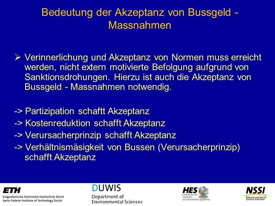 Bedeutung der Akzeptanz von Bussgeld - Massnahmen Verinnerlichung und Akzeptanz von Normen muss erreicht werden, nicht extern motivierte Befolgung auf