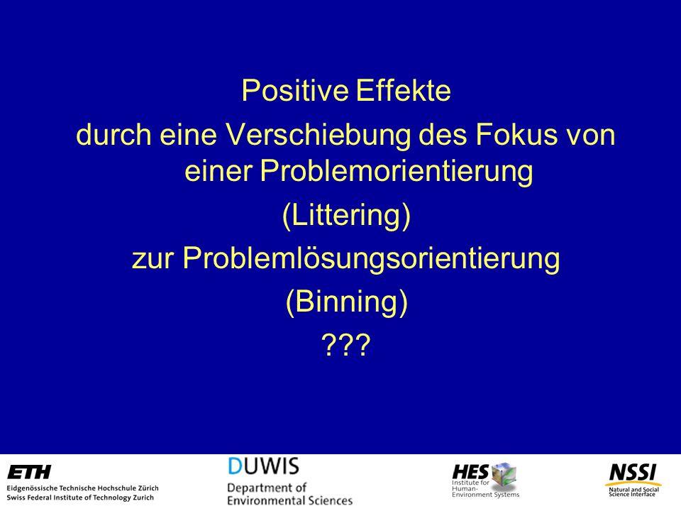 Positive Effekte durch eine Verschiebung des Fokus von einer Problemorientierung (Littering) zur Problemlösungsorientierung (Binning) ???