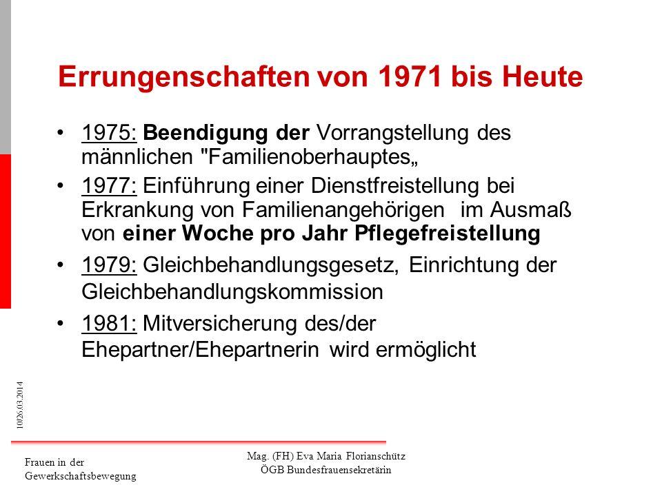 10/26.03.2014 Frauen in der Gewerkschaftsbewegung Mag. (FH) Eva Maria Florianschütz ÖGB Bundesfrauensekretärin Errungenschaften von 1971 bis Heute 197