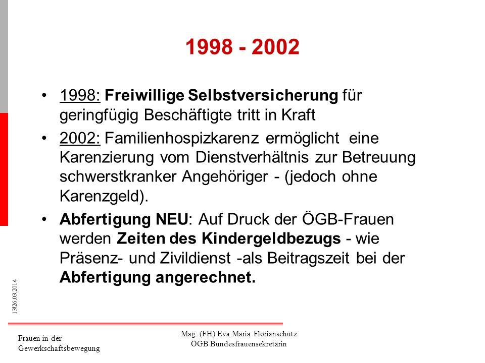 13/26.03.2014 Frauen in der Gewerkschaftsbewegung Mag. (FH) Eva Maria Florianschütz ÖGB Bundesfrauensekretärin 1998 - 2002 1998: Freiwillige Selbstver