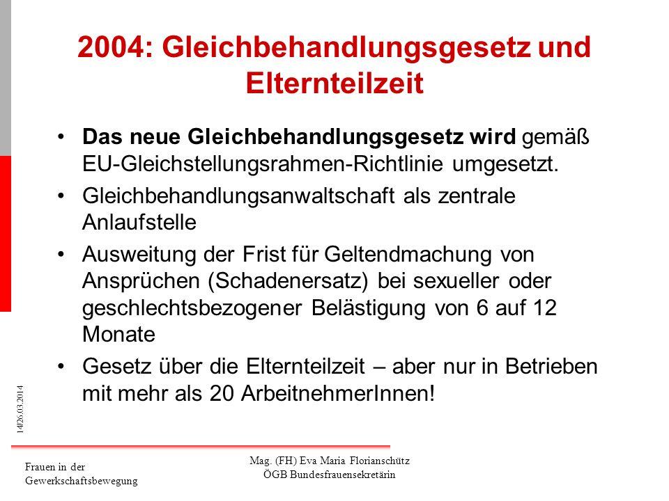 14/26.03.2014 Frauen in der Gewerkschaftsbewegung Mag. (FH) Eva Maria Florianschütz ÖGB Bundesfrauensekretärin 2004: Gleichbehandlungsgesetz und Elter