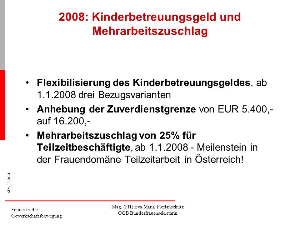 16/26.03.2014 Frauen in der Gewerkschaftsbewegung Mag. (FH) Eva Maria Florianschütz ÖGB Bundesfrauensekretärin 2008: Kinderbetreuungsgeld und Mehrarbe