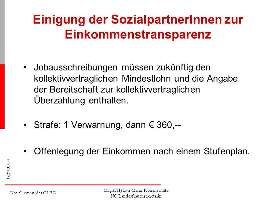 18/26.03.2014 Novellierung des GLBG Mag.(FH) Eva Maria Florianschütz NÖ Landesfrauensekretärin Einigung der SozialpartnerInnen zur Einkommenstranspare