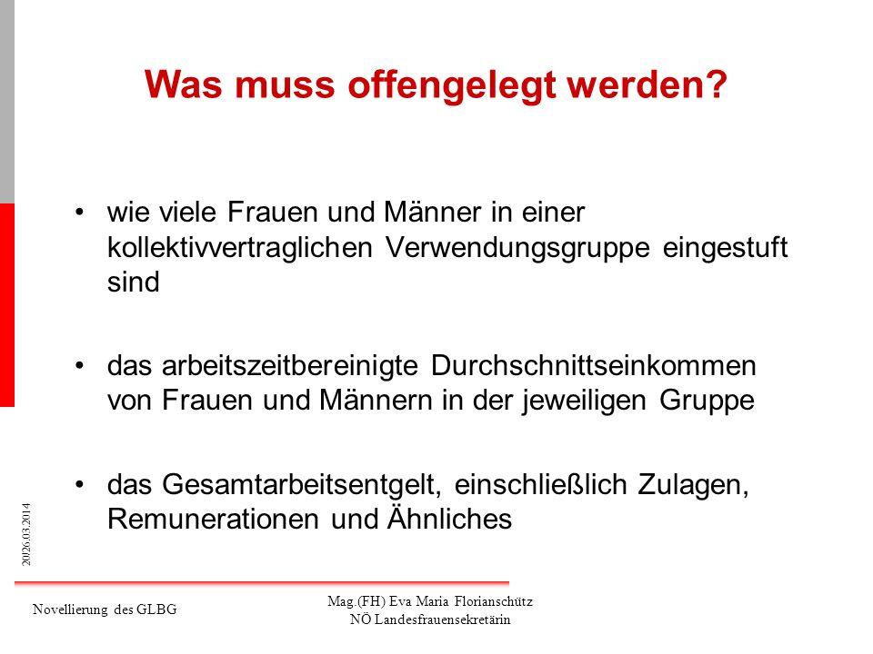 20/26.03.2014 Novellierung des GLBG Mag.(FH) Eva Maria Florianschütz NÖ Landesfrauensekretärin Was muss offengelegt werden? wie viele Frauen und Männe