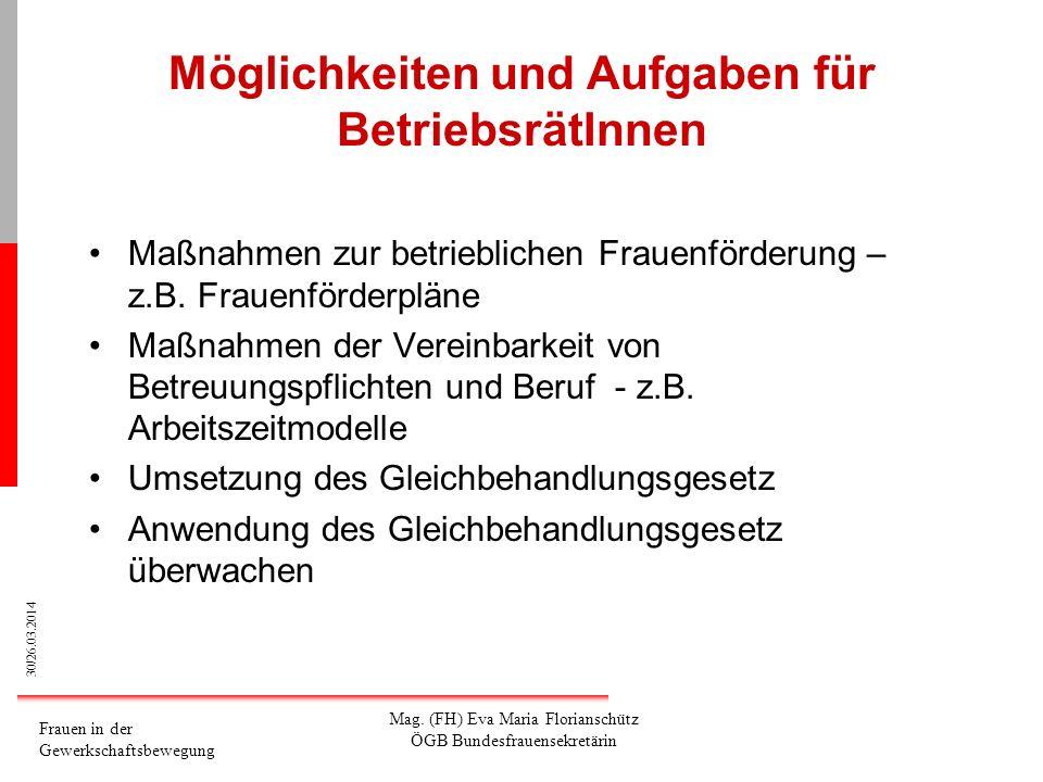 30/26.03.2014 Frauen in der Gewerkschaftsbewegung Mag. (FH) Eva Maria Florianschütz ÖGB Bundesfrauensekretärin Möglichkeiten und Aufgaben für Betriebs