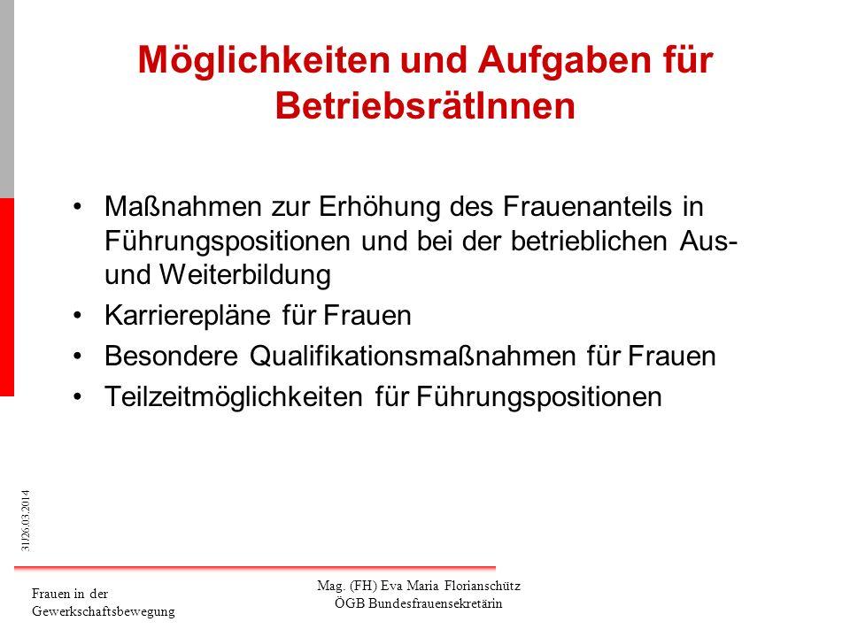 31/26.03.2014 Frauen in der Gewerkschaftsbewegung Mag. (FH) Eva Maria Florianschütz ÖGB Bundesfrauensekretärin Möglichkeiten und Aufgaben für Betriebs