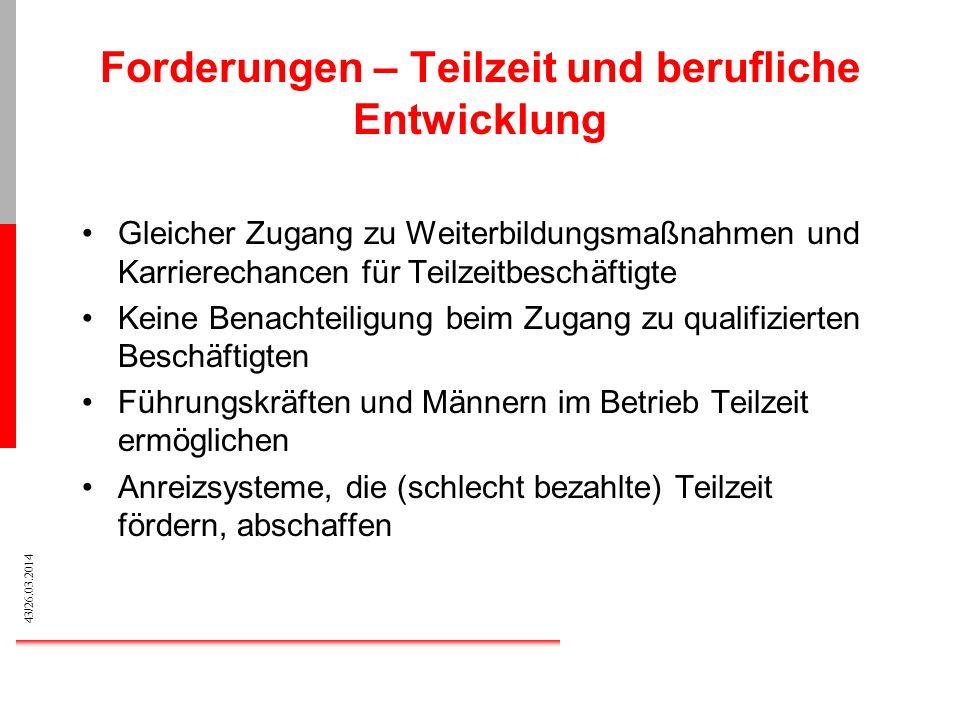 43/26.03.2014 Forderungen – Teilzeit und berufliche Entwicklung Gleicher Zugang zu Weiterbildungsmaßnahmen und Karrierechancen für Teilzeitbeschäftigt