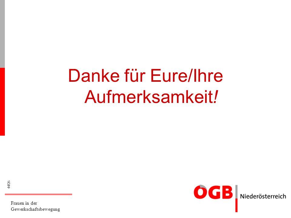 44/26.03.2014 Frauen in der Gewerkschaftsbewegung Eva Maria Florianschütz NÖ Landesfrauensekretärin Danke für Eure/Ihre Aufmerksamkeit!