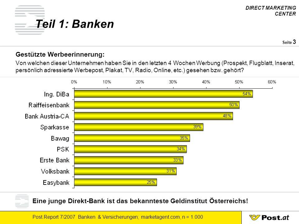 DIRECT MARKETING CENTER Post.Report 7/2007 Banken & Versicherungen; marketagent.com, n = 1.000 Seite 3 Teil 1: Banken Gestützte Werbeerinnerung: Von w