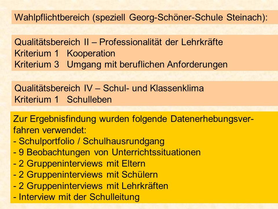Wahlpflichtbereich (speziell Georg-Schöner-Schule Steinach): Qualitätsbereich II – Professionalität der Lehrkräfte Kriterium 1 Kooperation Kriterium 3