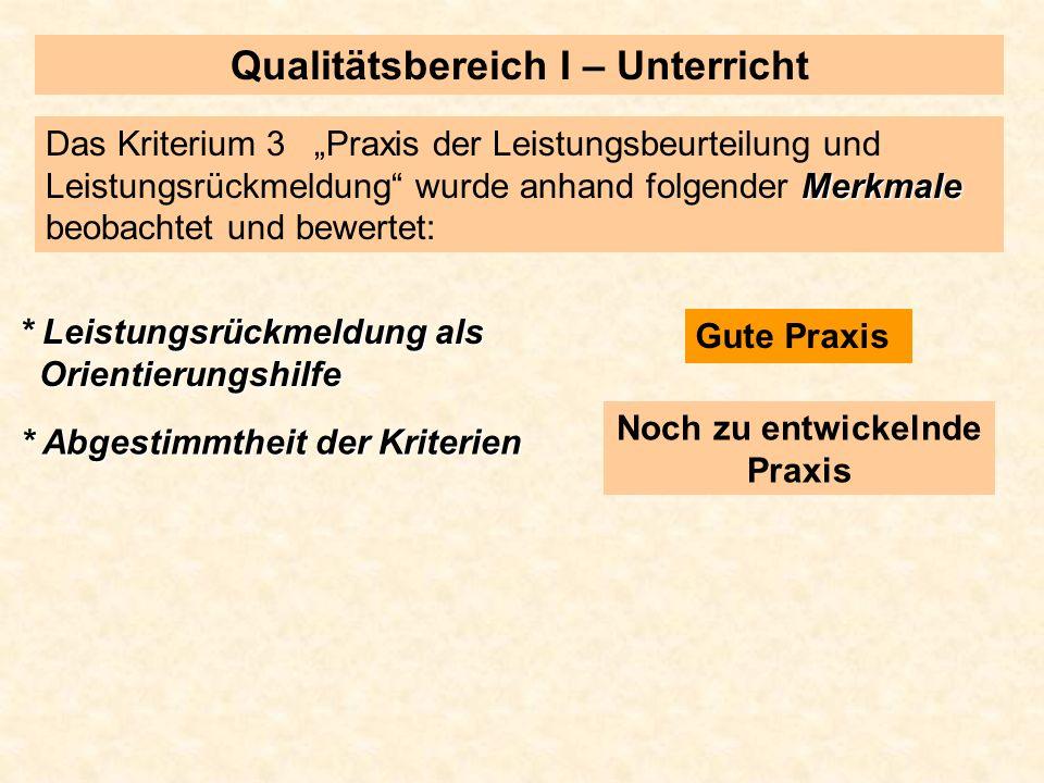 Qualitätsbereich I – Unterricht Merkmale Das Kriterium 3 Praxis der Leistungsbeurteilung und Leistungsrückmeldung wurde anhand folgender Merkmale beob