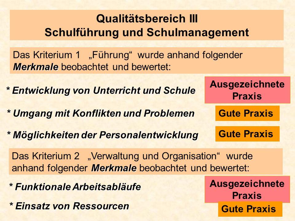 Qualitätsbereich III Schulführung und Schulmanagement Merkmale Das Kriterium 1 Führung wurde anhand folgender Merkmale beobachtet und bewertet: * Entw