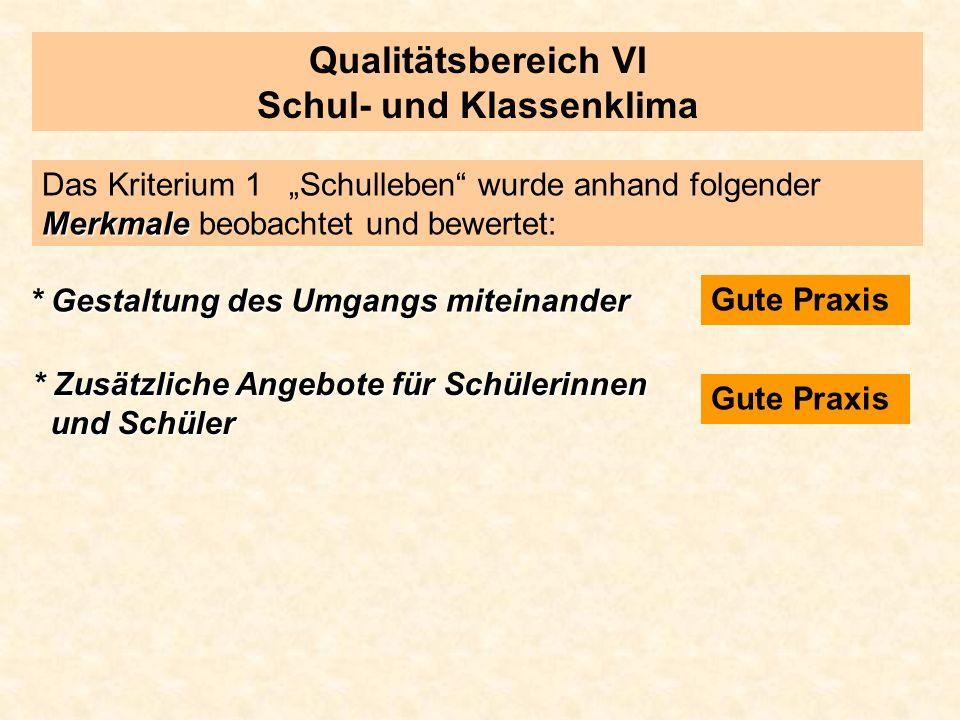 Qualitätsbereich VI Schul- und Klassenklima Merkmale Das Kriterium 1 Schulleben wurde anhand folgender Merkmale beobachtet und bewertet: * Gestaltung