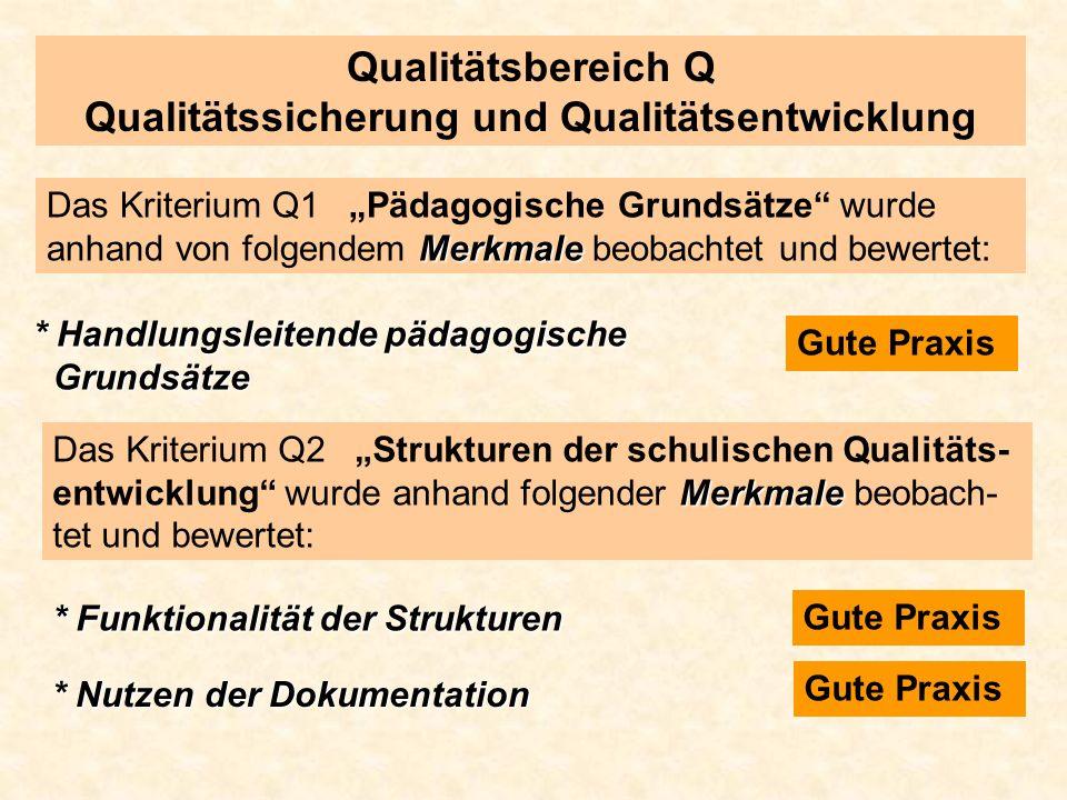 Qualitätsbereich Q Qualitätssicherung und Qualitätsentwicklung Merkmale Das Kriterium Q1 Pädagogische Grundsätze wurde anhand von folgendem Merkmale b