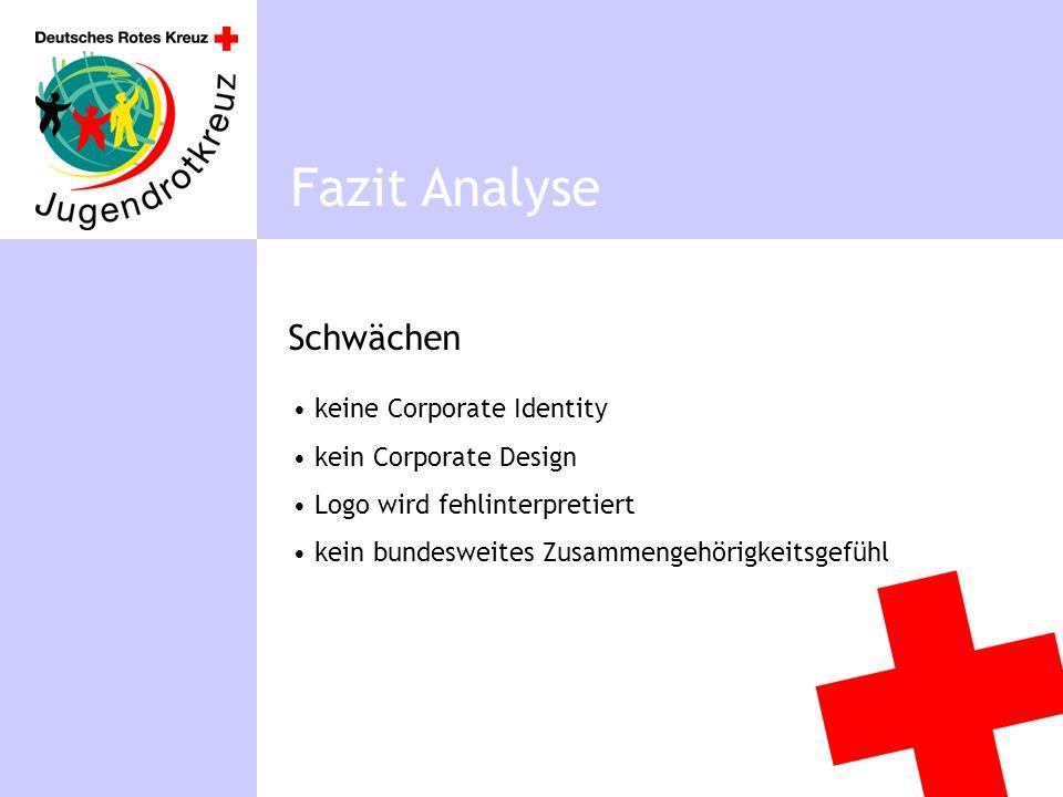 Schwächen Fazit Analyse keine Corporate Identity kein Corporate Design Logo wird fehlinterpretiert kein bundesweites Zusammengehörigkeitsgefühl