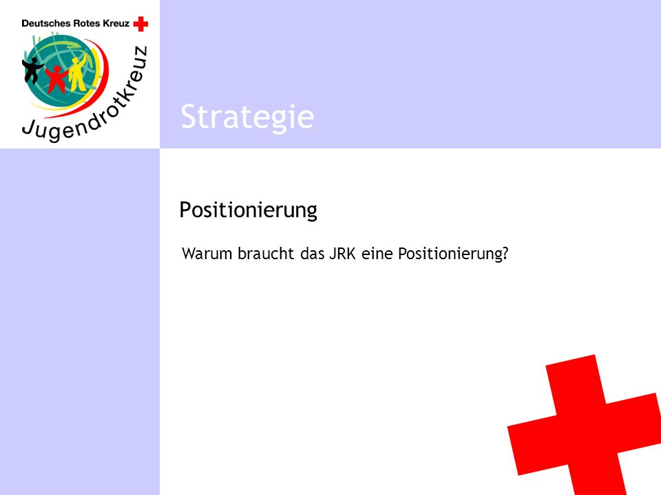 Positionierung Strategie Warum braucht das JRK eine Positionierung?
