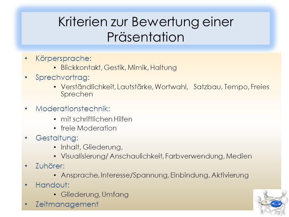 Kriterien zur Bewertung einer Präsentation Körpersprache: Blickkontakt, Gestik, Mimik, Haltung Sprechvortrag: Verständlichkeit, Lautstärke, Wortwahl,