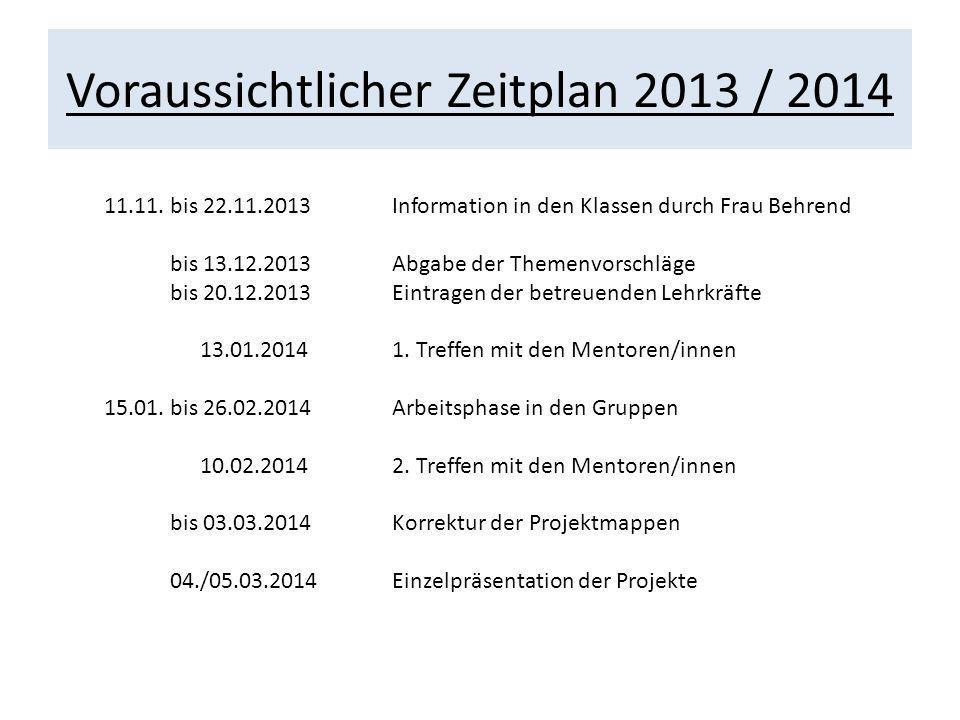 Voraussichtlicher Zeitplan 2013 / 2014 11.11. bis 22.11.2013Information in den Klassen durch Frau Behrend bis 13.12.2013Abgabe der Themenvorschläge bi