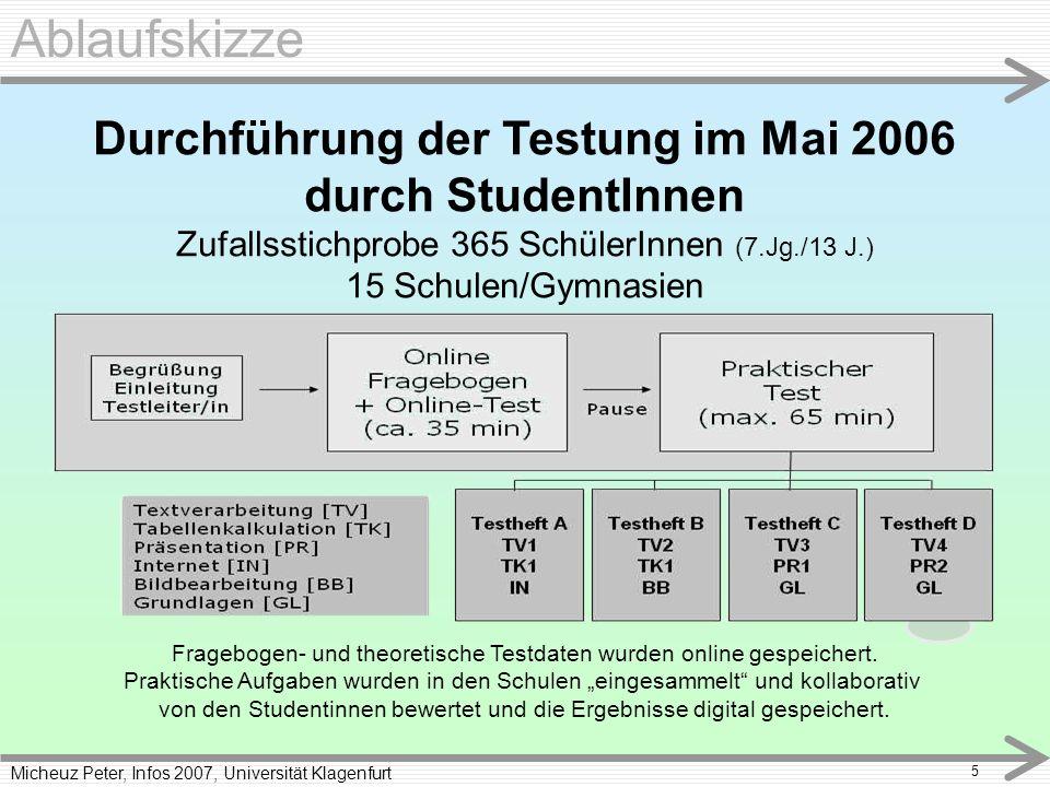 Micheuz Peter, Infos 2007, Universität Klagenfurt 5 Ablaufskizze Durchführung der Testung im Mai 2006 durch StudentInnen Zufallsstichprobe 365 SchülerInnen (7.Jg./13 J.) 15 Schulen/Gymnasien Fragebogen- und theoretische Testdaten wurden online gespeichert.