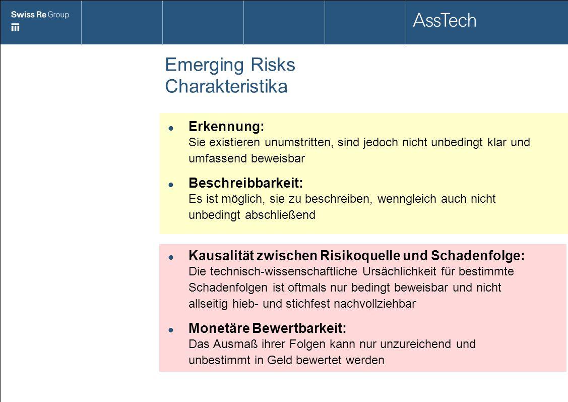 Emerging Risks Charakteristika Erkennung: Sie existieren unumstritten, sind jedoch nicht unbedingt klar und umfassend beweisbar Beschreibbarkeit: Es i