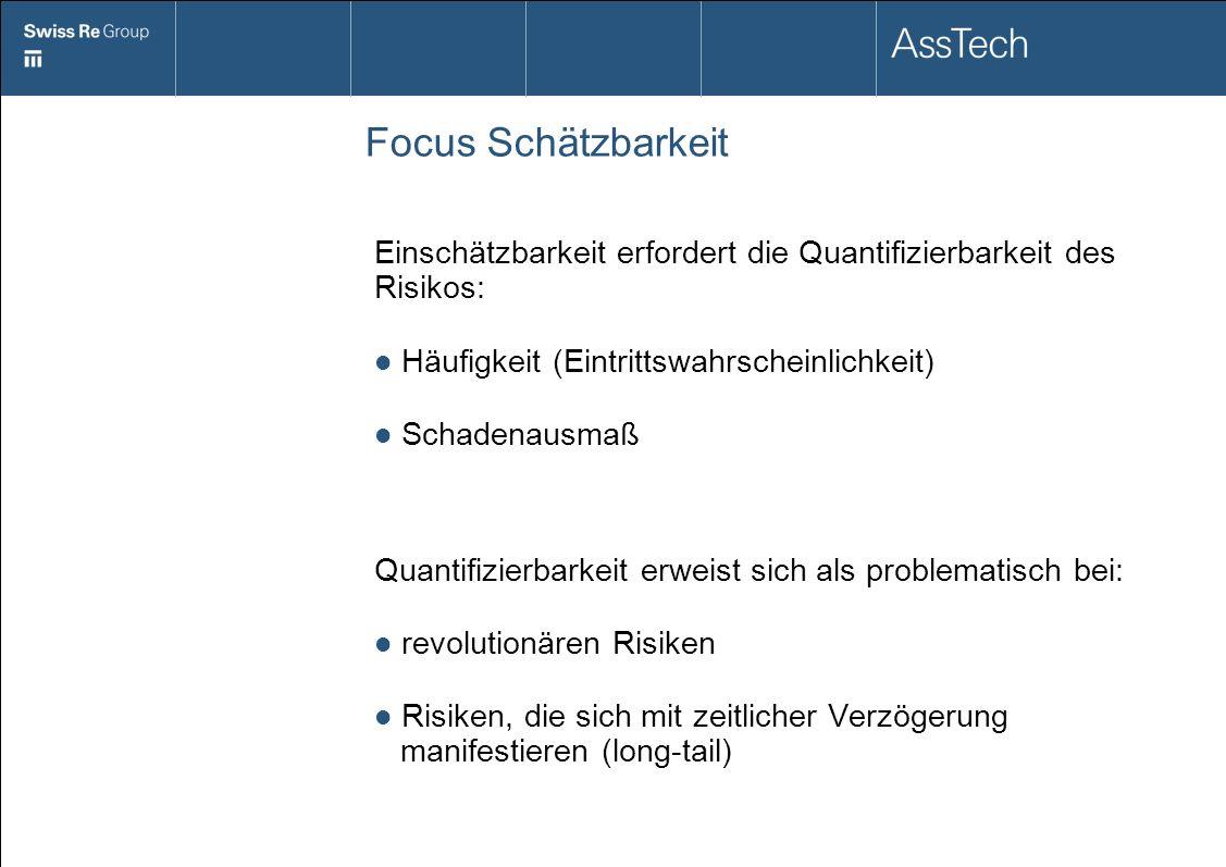Focus Schätzbarkeit Einschätzbarkeit erfordert die Quantifizierbarkeit des Risikos: Häufigkeit (Eintrittswahrscheinlichkeit) Schadenausmaß Quantifizie