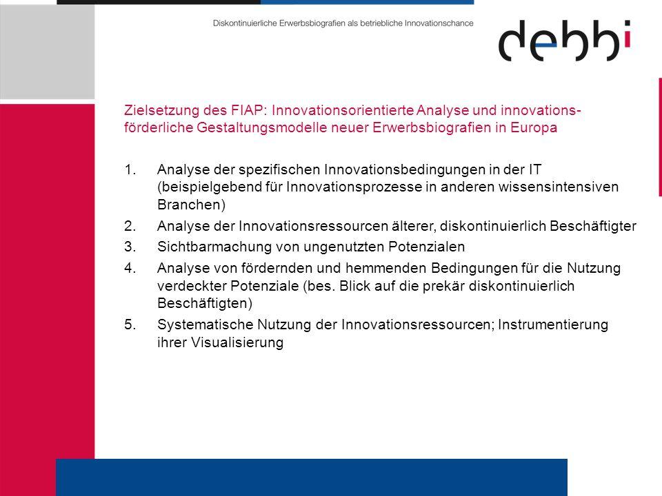 Zielsetzung des FIAP: Innovationsorientierte Analyse und innovations- förderliche Gestaltungsmodelle neuer Erwerbsbiografien in Europa 1.