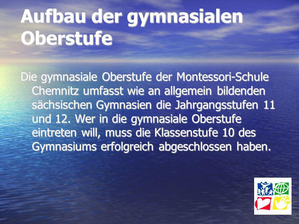 Aufbau der gymnasialen Oberstufe Die gymnasiale Oberstufe der Montessori-Schule Chemnitz umfasst wie an allgemein bildenden sächsischen Gymnasien die