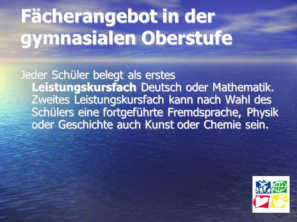 Fächerangebot in der gymnasialen Oberstufe Jeder Schüler belegt als erstes Leistungskursfach Deutsch oder Mathematik. Zweites Leistungskursfach kann n