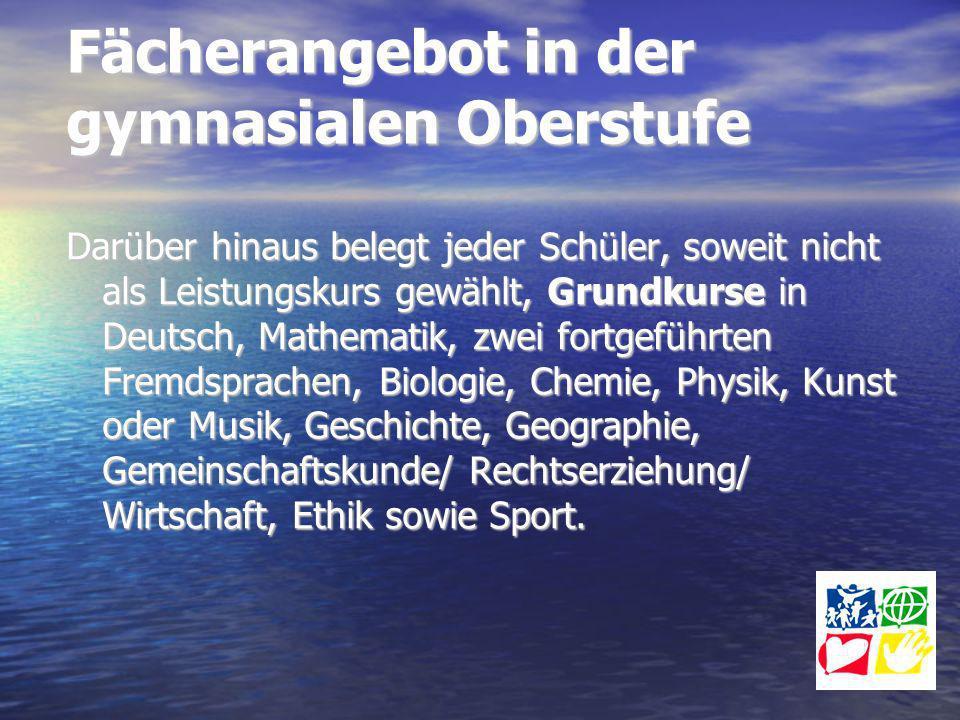 Fächerangebot in der gymnasialen Oberstufe Darüber hinaus belegt jeder Schüler, soweit nicht als Leistungskurs gewählt, Grundkurse in Deutsch, Mathema