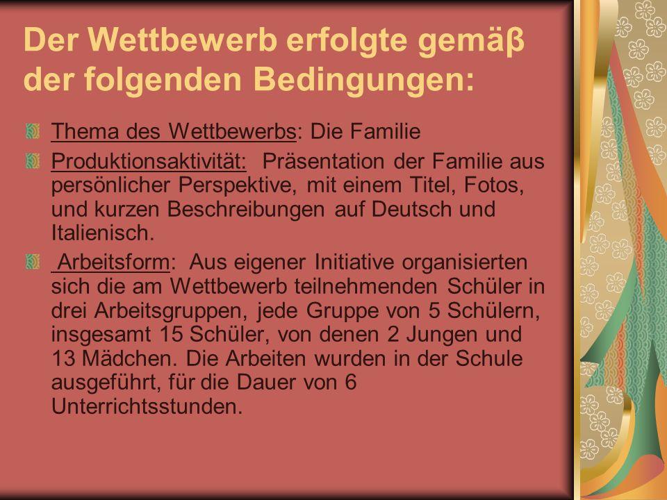 Der Wettbewerb erfolgte gemäβ der folgenden Bedingungen: Thema des Wettbewerbs: Die Familie Produktionsaktivität: Präsentation der Familie aus persönl