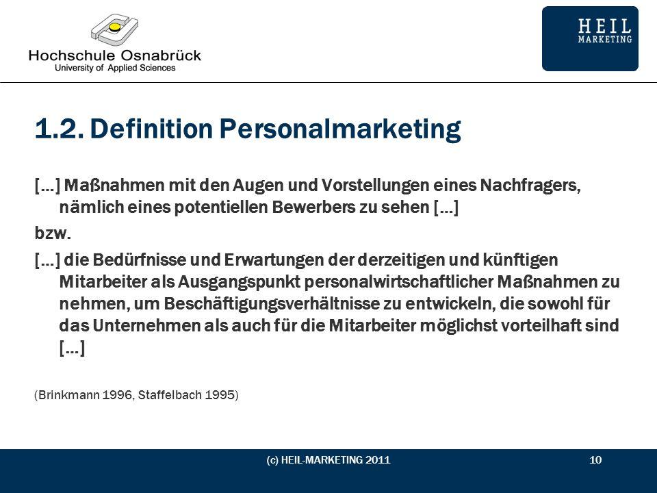 1.2. Definition Personalmarketing […] Maßnahmen mit den Augen und Vorstellungen eines Nachfragers, nämlich eines potentiellen Bewerbers zu sehen […] b